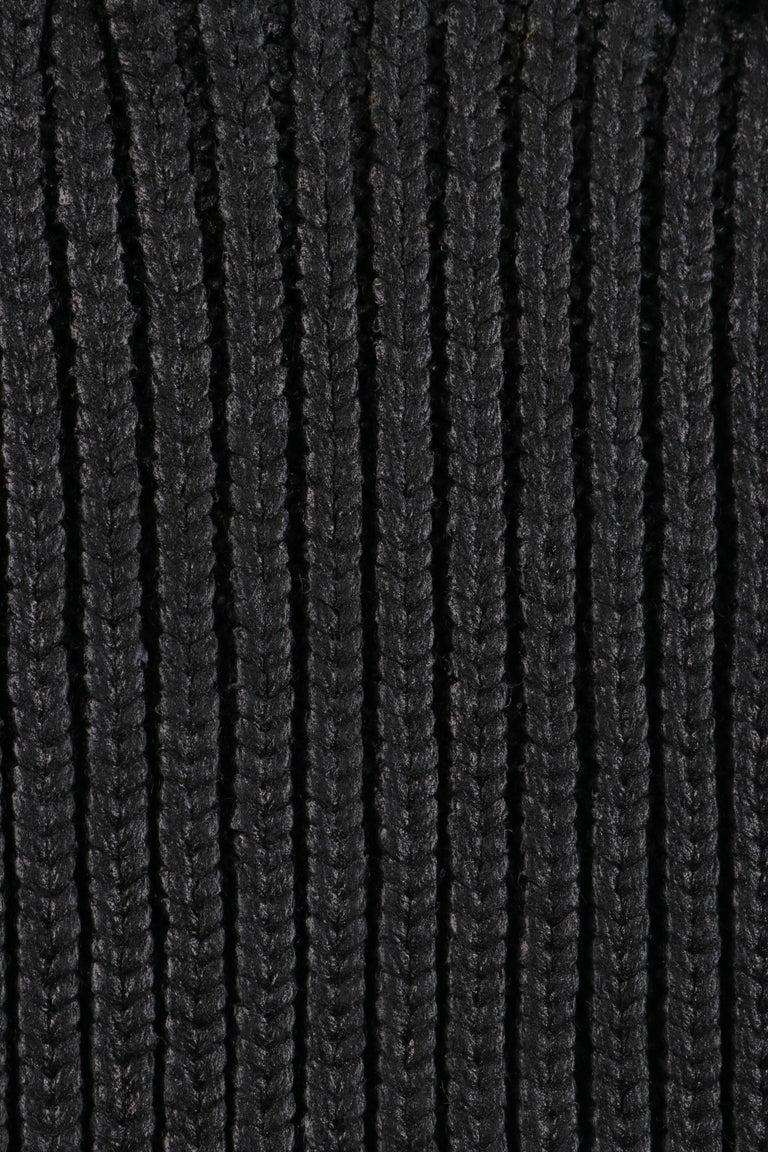 ALEXANDER McQUEEN c.2001 Black Metallic Glazed Distressed Turtleneck Sweater For Sale 2
