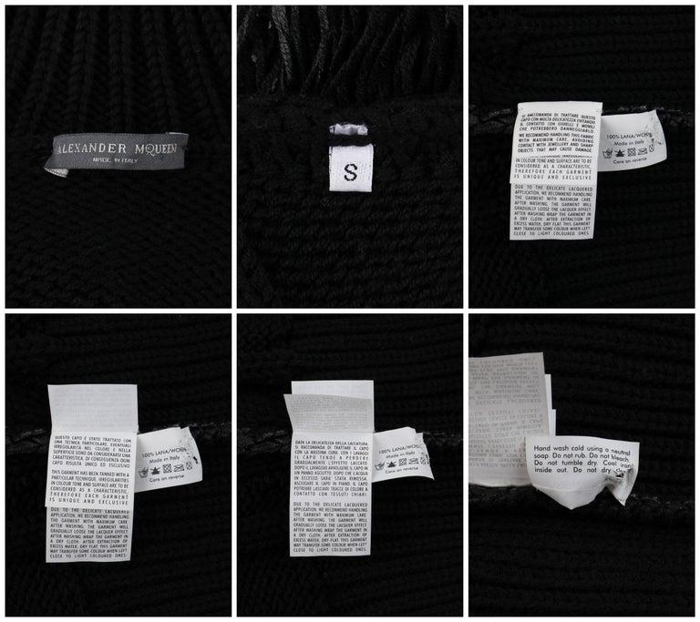 ALEXANDER McQUEEN c.2001 Black Metallic Glazed Distressed Turtleneck Sweater For Sale 3