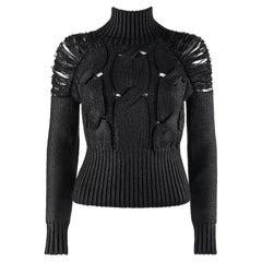 ALEXANDER McQUEEN c.2001 Black Metallic Glazed Distressed Turtleneck Sweater