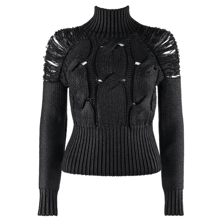 ALEXANDER McQUEEN c.2001 Black Metallic Glazed Distressed Turtleneck Sweater For Sale