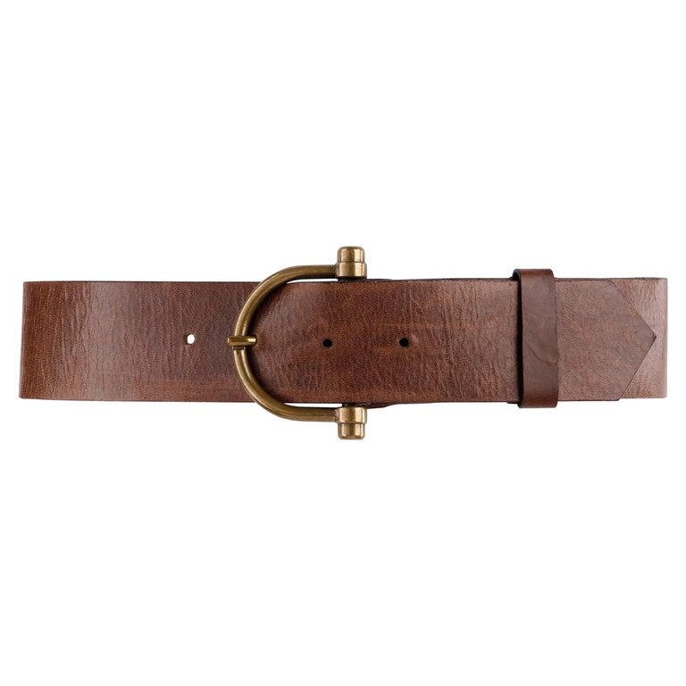 "ALEXANDER McQUEEN c.2003 ""Irere"" Brown 2"" Wide Leather Brass Buckle Waist Belt For Sale"