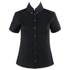 ALEXANDER McQUEEN c.2007 Black Button Down High Collar Short Sleeve Blouse Top