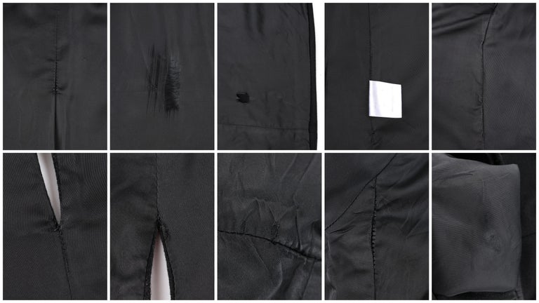 ALEXANDER McQUEEN c.2007 Black Wool/Cashmere Women's Belted Coat Jacket For Sale 7