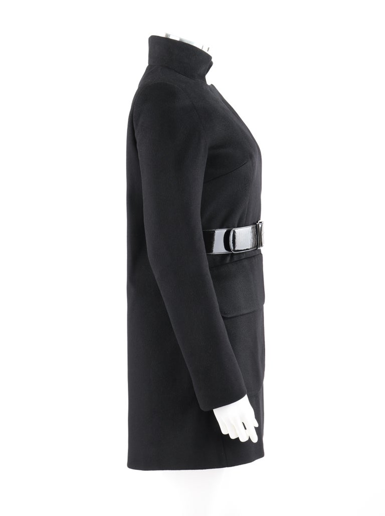 ALEXANDER McQUEEN c.2007 Black Wool/Cashmere Women's Belted Coat Jacket In Good Condition For Sale In Thiensville, WI