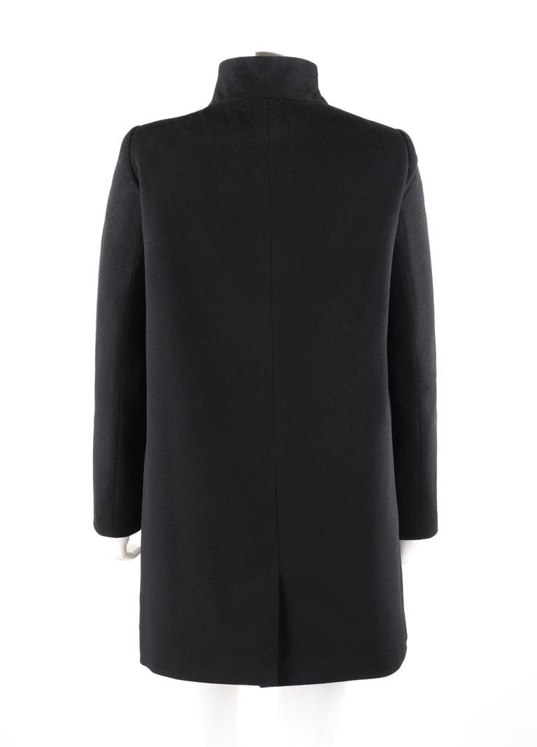 ALEXANDER McQUEEN c.2007 Black Wool/Cashmere Women's Belted Coat Jacket For Sale 1