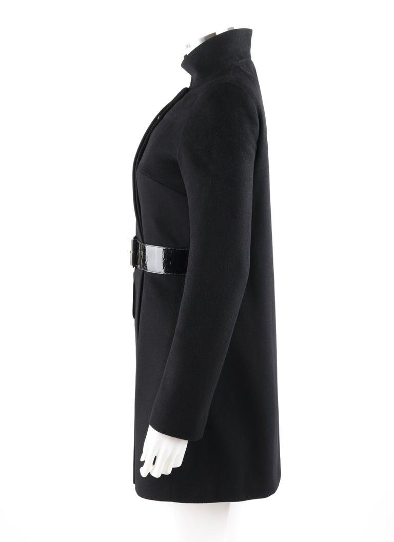 ALEXANDER McQUEEN c.2007 Black Wool/Cashmere Women's Belted Coat Jacket For Sale 2