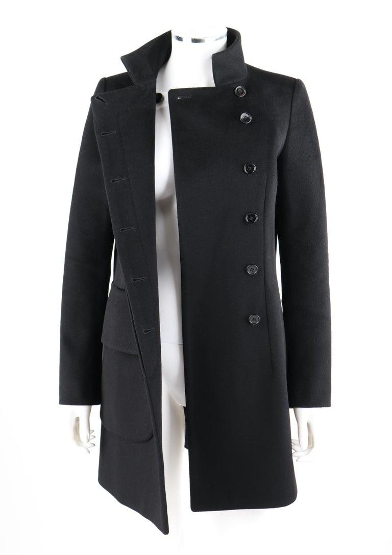 ALEXANDER McQUEEN c.2007 Black Wool/Cashmere Women's Belted Coat Jacket For Sale 3