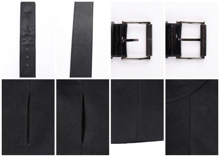 ALEXANDER McQUEEN c.2007 Black Wool/Cashmere Women's Belted Coat Jacket For Sale 6