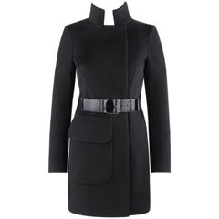 ALEXANDER McQUEEN c.2007 Black Wool/Cashmere Women's Belted Coat Jacket