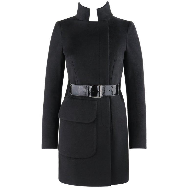 ALEXANDER McQUEEN c.2007 Black Wool/Cashmere Women's Belted Coat Jacket For Sale