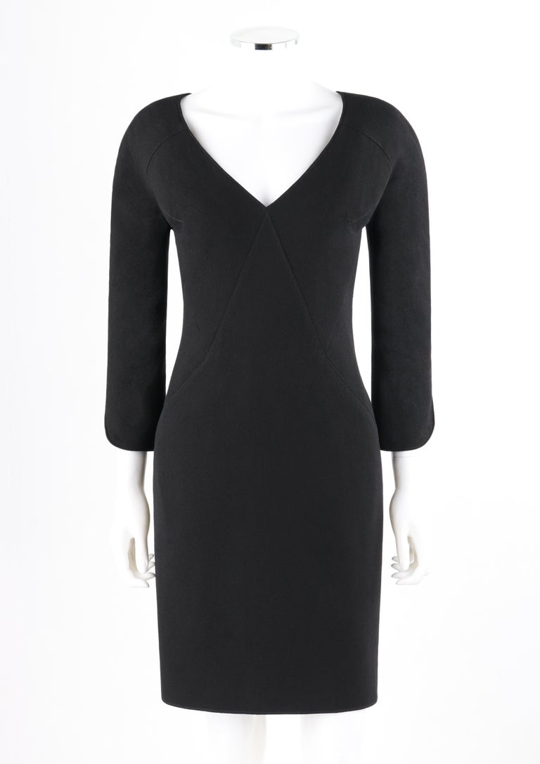 ALEXANDER McQUEEN c.2007 Black Wool Geometric Paneled V-Neck Cocktail Dress  Brand / Manufacturer: Alexander McQueen Designer: Alexander McQueen Collection: c.2007 Style: Sheath Dress Color(s): Black Lined: Yes Marked Fabric Content: 100% Wool;