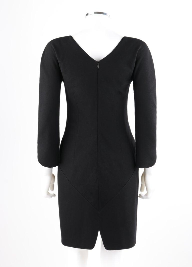 Women's ALEXANDER McQUEEN c.2007 Black Wool Geometric Paneled V-Neck Cocktail Dress For Sale