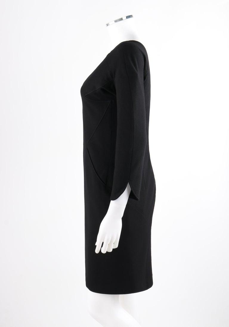 ALEXANDER McQUEEN c.2007 Black Wool Geometric Paneled V-Neck Cocktail Dress For Sale 1