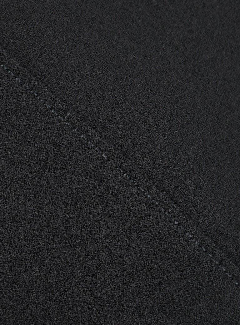 ALEXANDER McQUEEN c.2007 Black Wool Geometric Paneled V-Neck Cocktail Dress For Sale 2