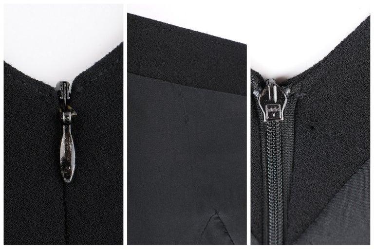 ALEXANDER McQUEEN c.2007 Black Wool Geometric Paneled V-Neck Cocktail Dress For Sale 4