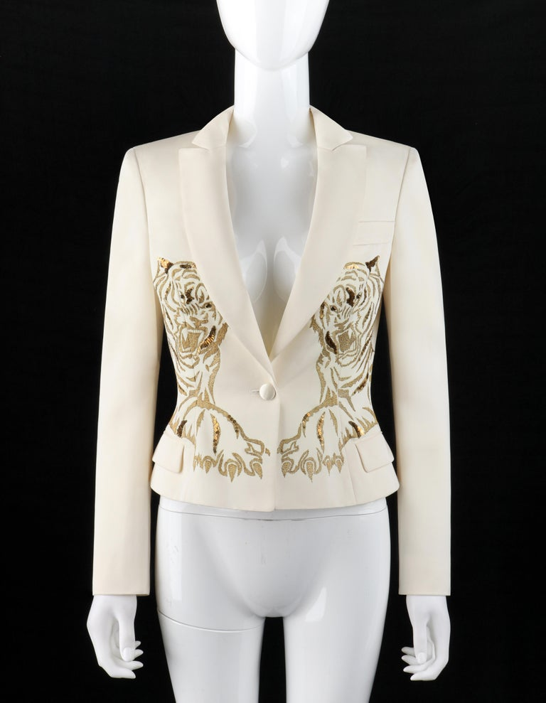 This beautifully embroidered tiger blazer with sequin and bead detailing was from Alexander McQueen's Egyptian inspired F/W 2007 collection