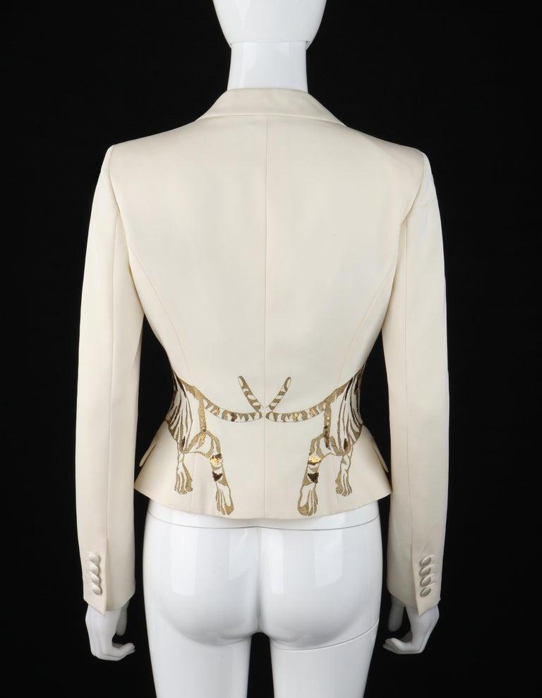 Women's ALEXANDER McQUEEN c.2007 Ivory Blazer Jacket Gold Embroidered Tiger For Sale