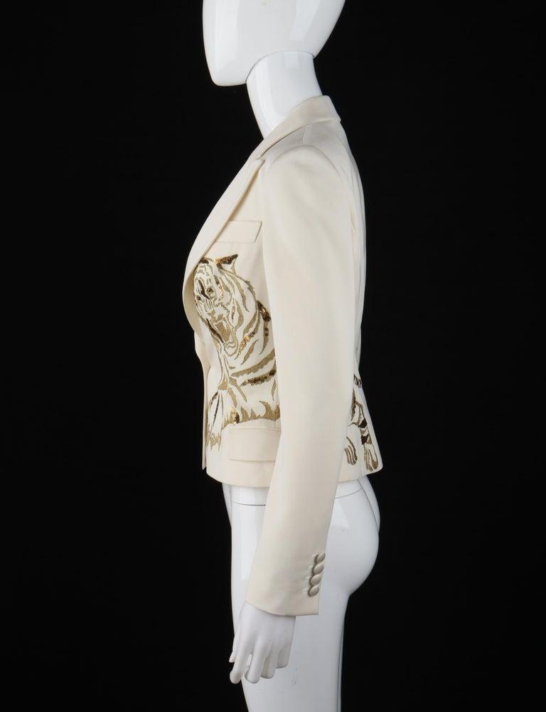 ALEXANDER McQUEEN c.2007 Ivory Blazer Jacket Gold Embroidered Tiger For Sale 1