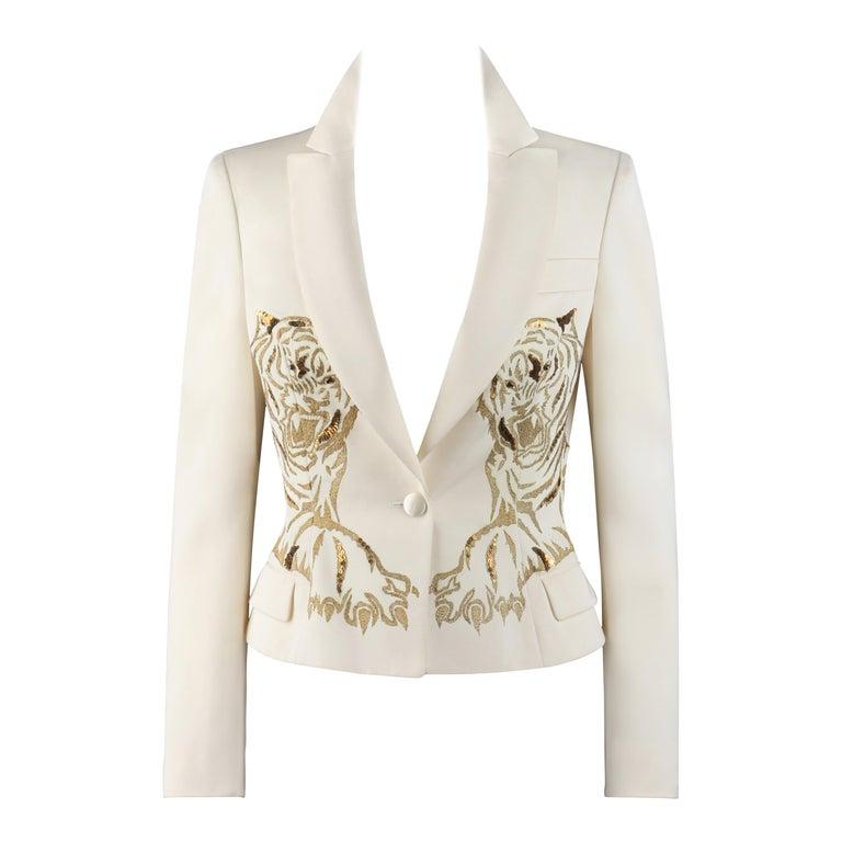 ALEXANDER McQUEEN c.2007 Ivory Blazer Jacket Gold Embroidered Tiger For Sale