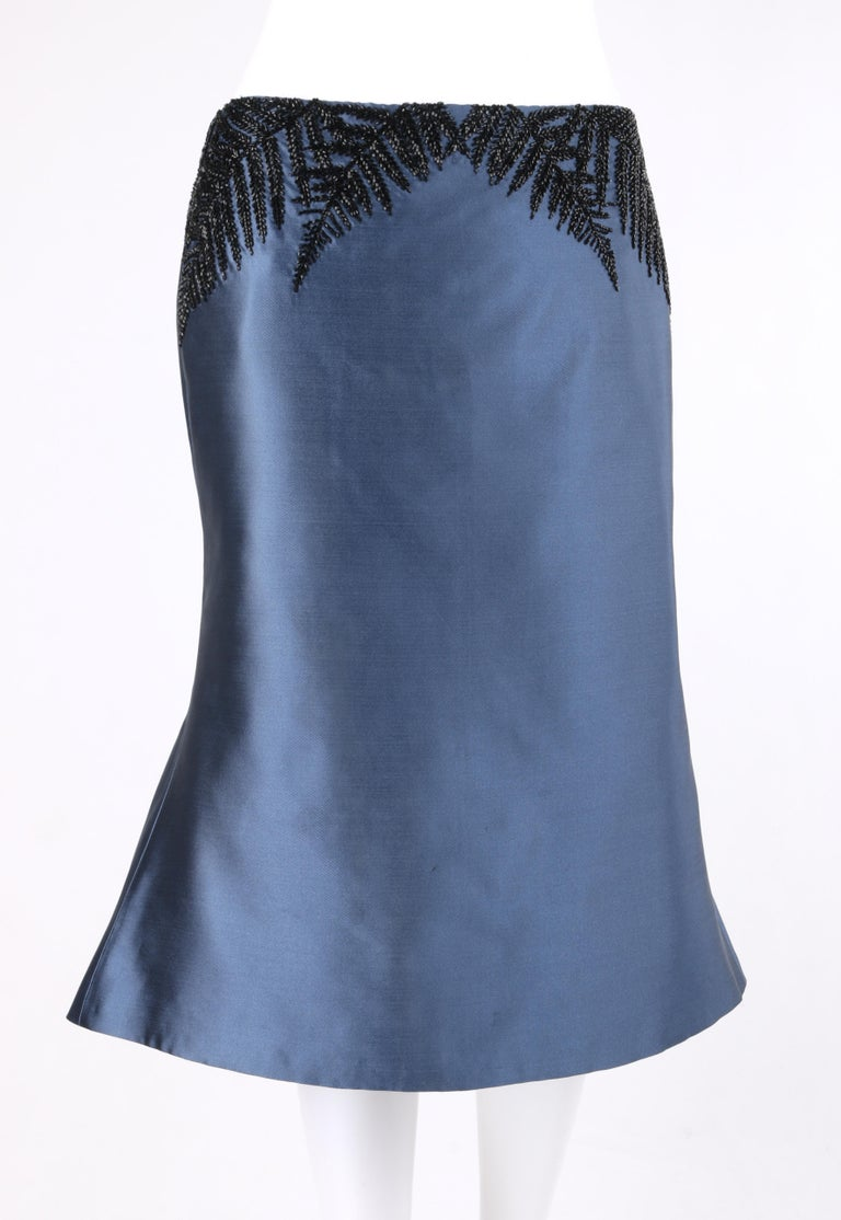 ALEXANDER McQUEEN c.2007 Metallic Blue Black Beaded Fern Leaf Silk Trumpet Skirt    Brand / Manufacturer: Alexander McQueen  Style: Trumpet Skirt Color(s): Blue and black. Lined: Yes       Marked Fabric Content: Exterior: 100% Silk; Lining: 52%