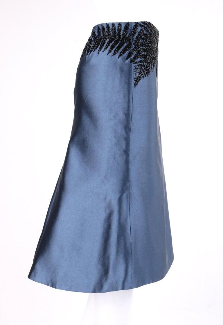 Gray ALEXANDER McQUEEN c.2007 Metallic Blue Black Beaded Fern Leaf Silk Trumpet Skirt For Sale