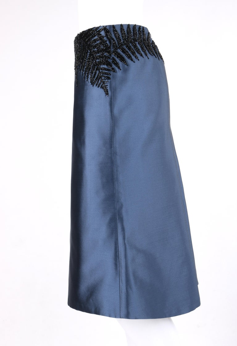 Women's ALEXANDER McQUEEN c.2007 Metallic Blue Black Beaded Fern Leaf Silk Trumpet Skirt For Sale