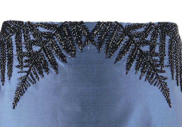 ALEXANDER McQUEEN c.2007 Metallic Blue Black Beaded Fern Leaf Silk Trumpet Skirt For Sale 1