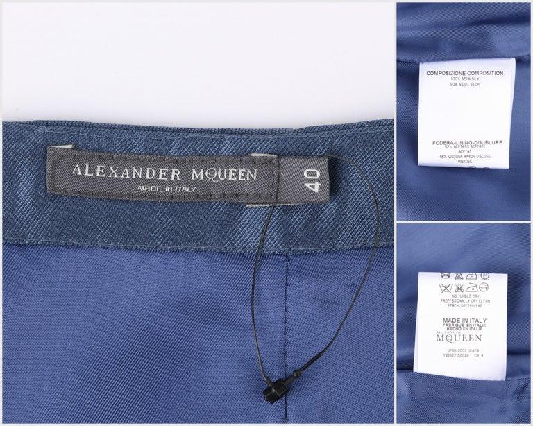 ALEXANDER McQUEEN c.2007 Metallic Blue Black Beaded Fern Leaf Silk Trumpet Skirt For Sale 2