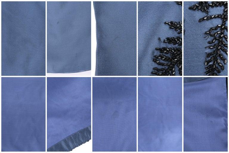 ALEXANDER McQUEEN c.2007 Metallic Blue Black Beaded Fern Leaf Silk Trumpet Skirt For Sale 3