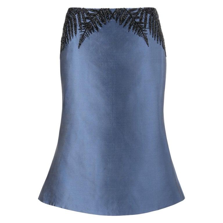 ALEXANDER McQUEEN c.2007 Metallic Blue Black Beaded Fern Leaf Silk Trumpet Skirt For Sale