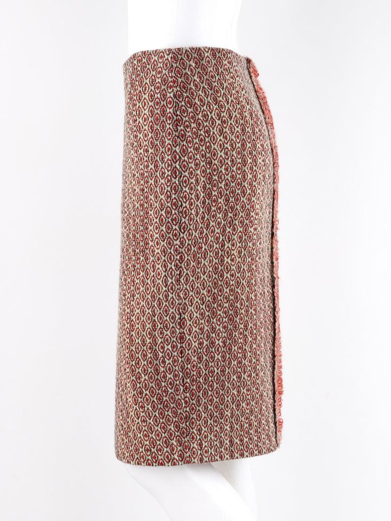ALEXANDER McQUEEN c.2007 Patterned Fringe Wool Pencil Back Full Zip Skirt For Sale 1