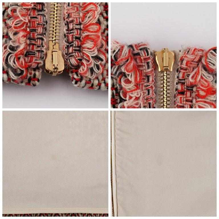 ALEXANDER McQUEEN c.2007 Patterned Fringe Wool Pencil Back Full Zip Skirt For Sale 3