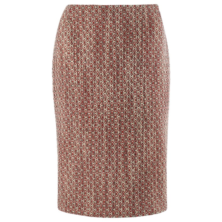 ALEXANDER McQUEEN c.2007 Patterned Fringe Wool Pencil Back Full Zip Skirt For Sale