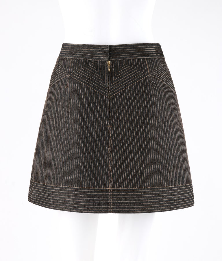 Women's ALEXANDER McQUEEN c.2008 Black Denim Patterned Top Stitched Mini Skirt For Sale