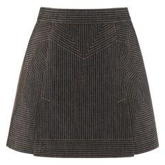 ALEXANDER McQUEEN c.2008 Black Denim Patterned Top Stitched Mini Skirt