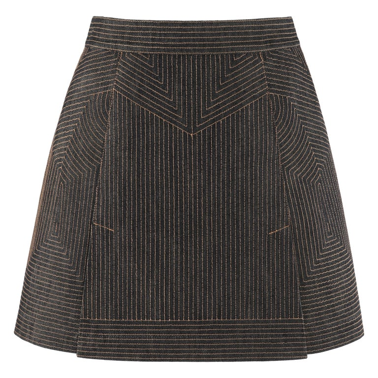 ALEXANDER McQUEEN c.2008 Black Denim Patterned Top Stitched Mini Skirt For Sale