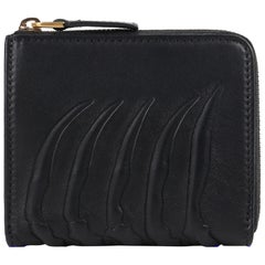 ALEXANDER McQUEEN c.2008 Black Leather Rib Cage Zip Around Coin Card Case NWT