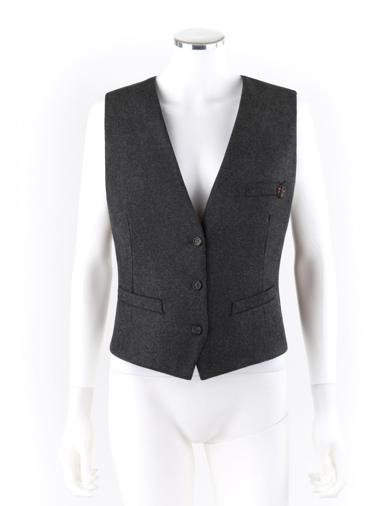 ALEXANDER McQUEEN Savile Row menswear inspired wool women's vest with Bumble Bee embellishment.  ALEXANDER  McQUEEN c.2008 Brown Wool/Cashmere Women's Bumble Bee Detail  Vest  Brand / Manufacturer: Alexander McQueen Designer: Alexander