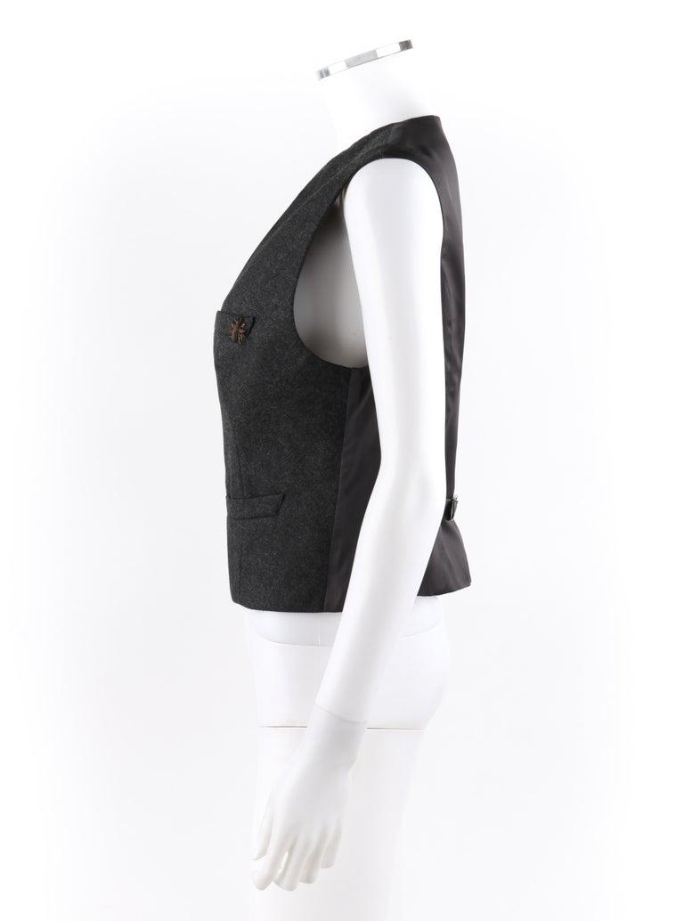 ALEXANDER McQUEEN c.2008 Savile Row Cashmere Women's Bumble Bee Detail Vest For Sale 2
