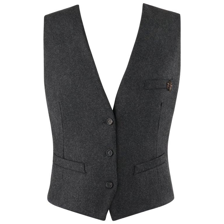 ALEXANDER McQUEEN c.2008 Savile Row Cashmere Women's Bumble Bee Detail Vest For Sale