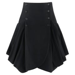ALEXANDER McQUEEN c.2009 Black Double Button Front Box Pleat Pocket Flare Skirt