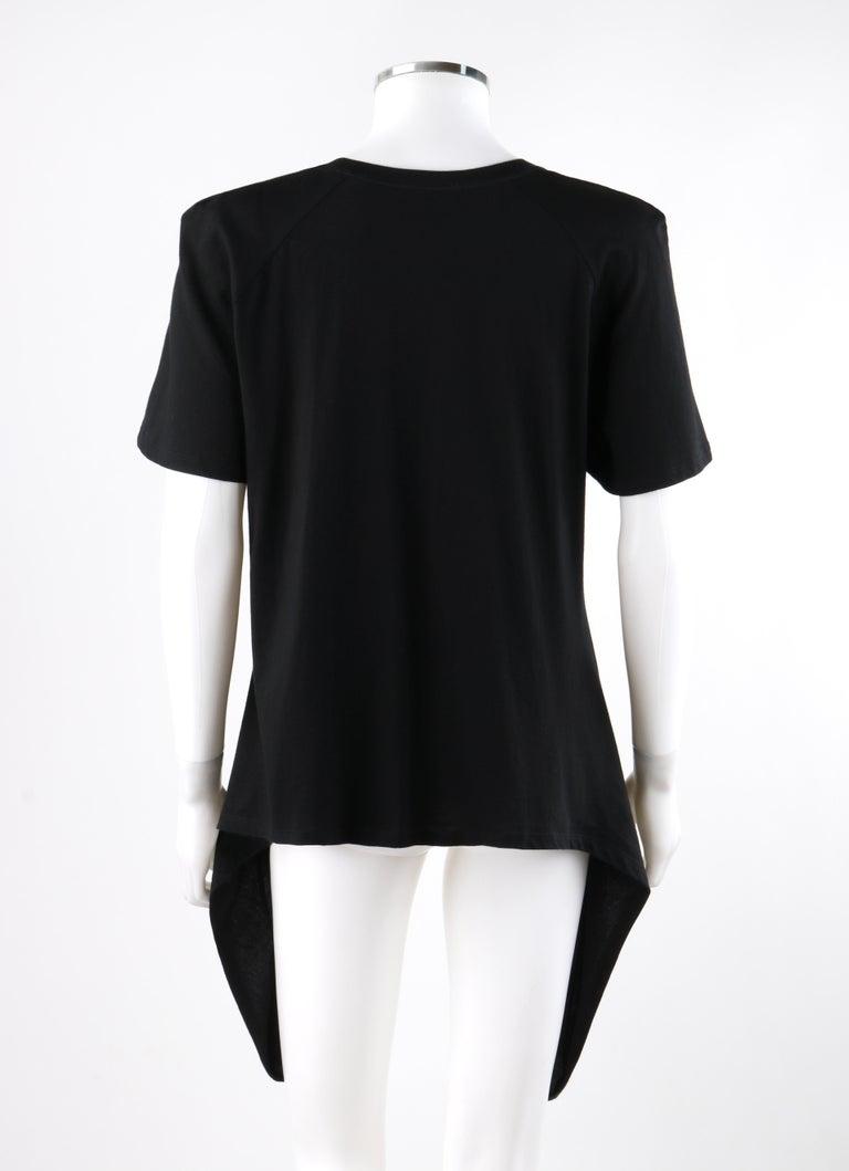 Women's ALEXANDER McQUEEN c.2009 Black Silkscreen Lips w/ Sequins Cotton Hi-Low T-Shirt  For Sale