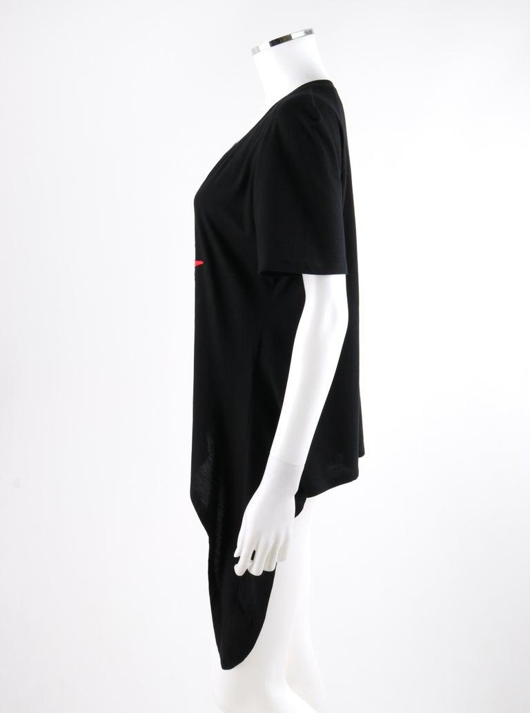 ALEXANDER McQUEEN c.2009 Black Silkscreen Lips w/ Sequins Cotton Hi-Low T-Shirt  For Sale 1