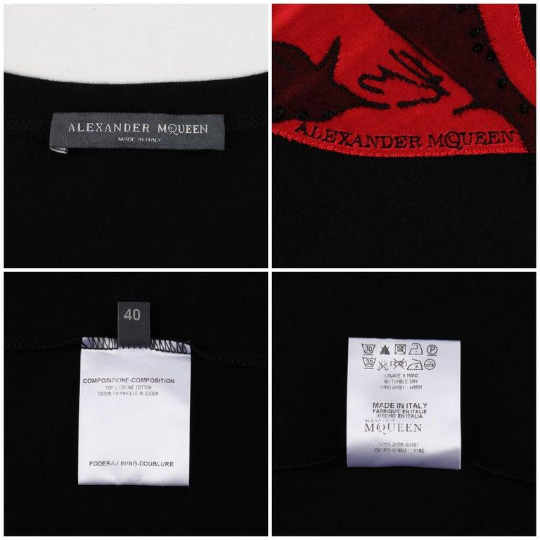 ALEXANDER McQUEEN c.2009 Black Silkscreen Lips w/ Sequins Cotton Hi-Low T-Shirt  For Sale 3