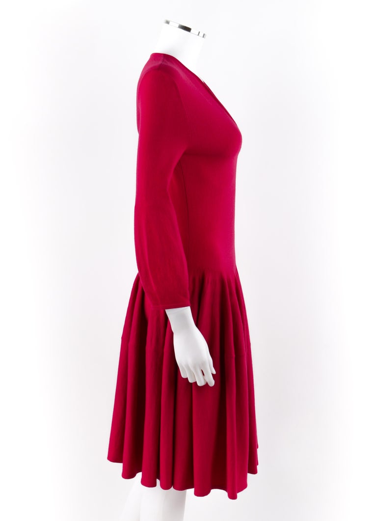 ALEXANDER McQUEEN c.2012 Raspberry Pink Bishop Sleeve Fit n Flare SAMPLE    Brand / Manufacturer: Alexander McQueen Collection: c.2012 Designer: Sarah Burton Style: Skater dress / fit n flare dress Color(s): Shades of raspberry pink (exterior,