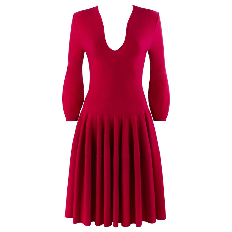 ALEXANDER McQUEEN c.2012 Raspberry Pink Fit n Flare Skater Dress SAMPLE For Sale