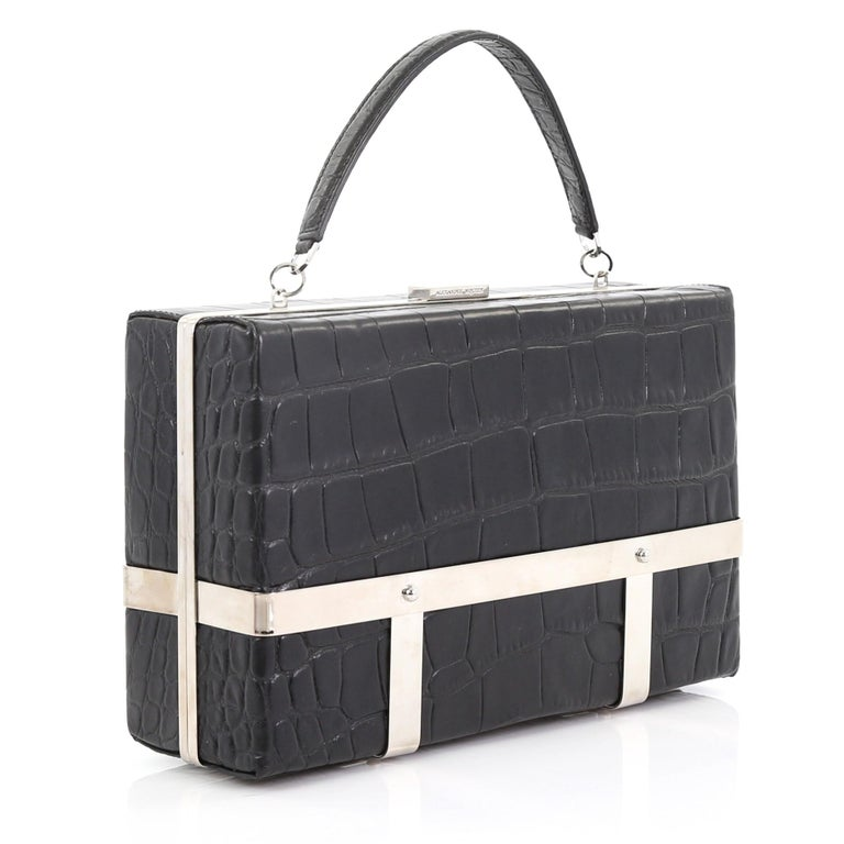 Black Alexander McQueen Cage Clutch Crocodile Embossed Leather Small For Sale