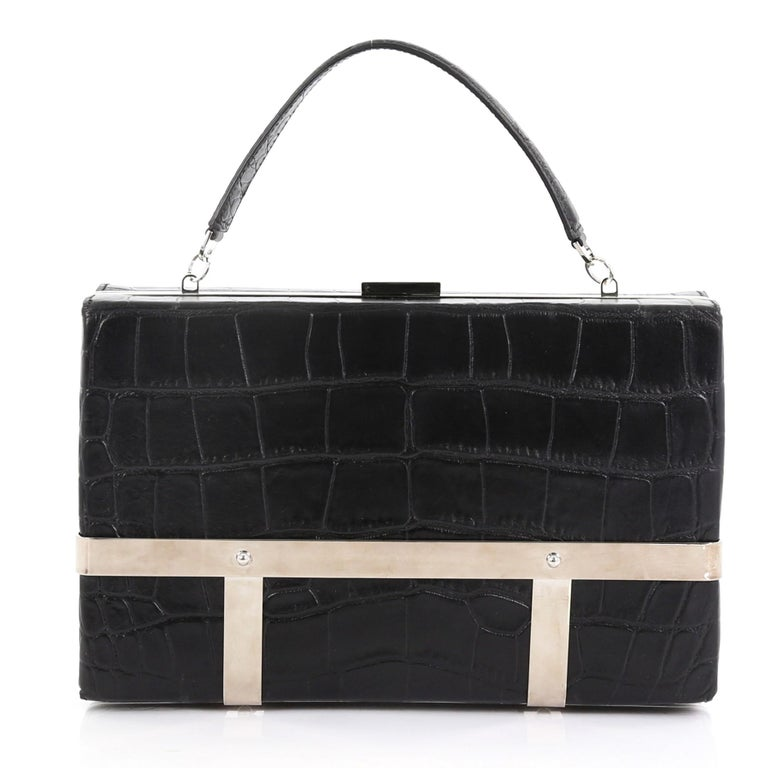 Alexander McQueen Cage Clutch Crocodile Embossed Leather Small In Good Condition For Sale In New York, NY