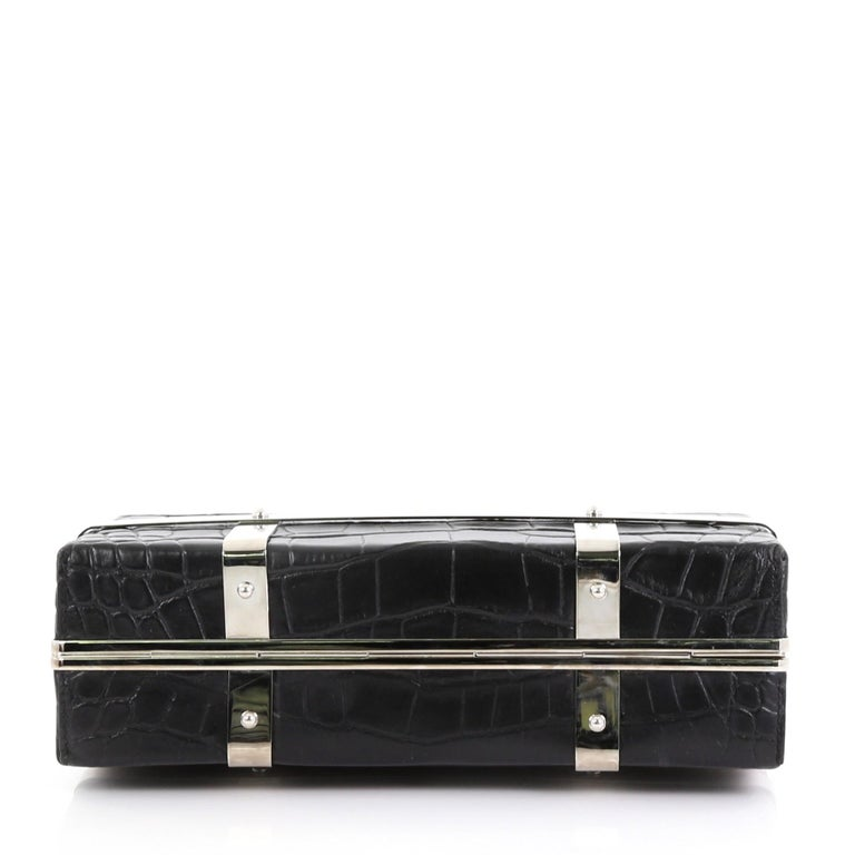 Women's Alexander McQueen Cage Clutch Crocodile Embossed Leather Small For Sale