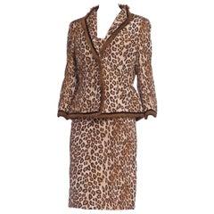 2000S Alexander Mcqueen Leopard Print Silk Taffeta Mink Trimmed Jacket & Dress